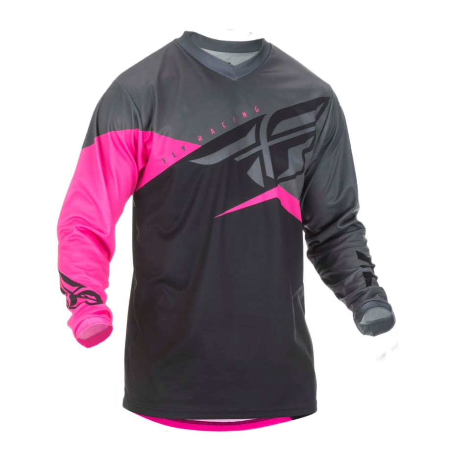 FLY F-16 YTH JERSEY '19 NEON PNK BLK GRY