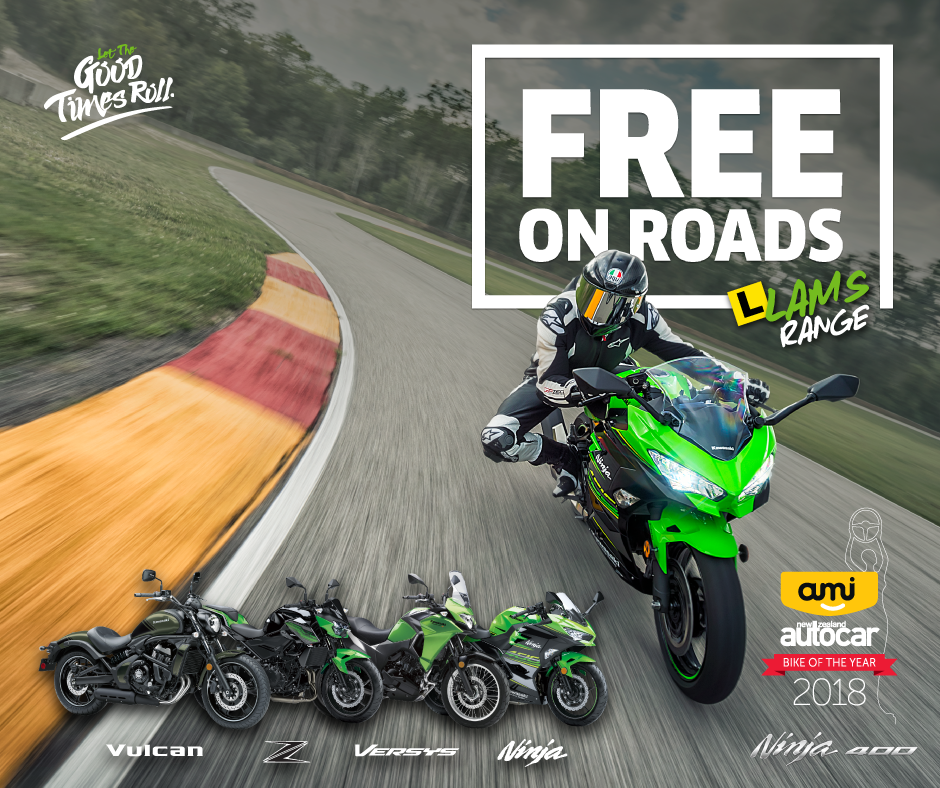 Free On Roads with any Kawasaki LAMS